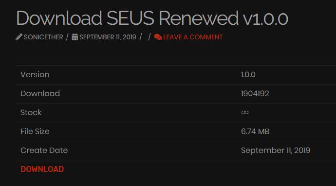 SEUS Renewed 1.0.0ダウンロード画面