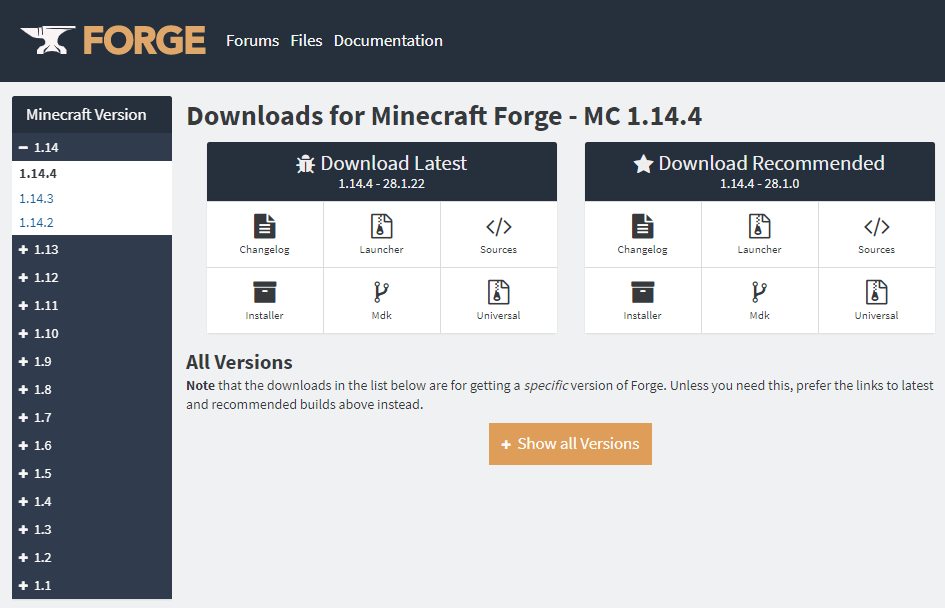 Forgeダウンロード画面