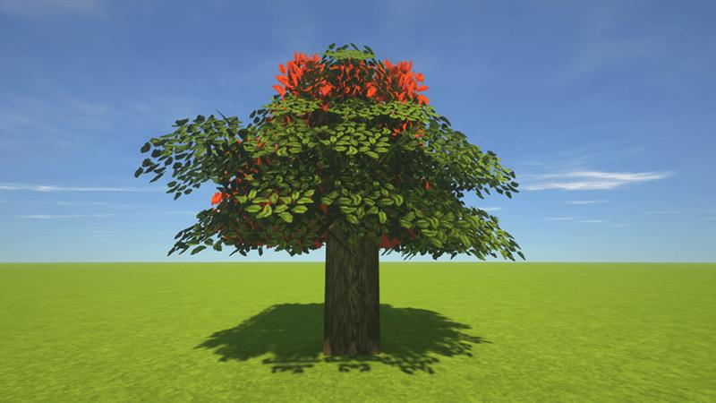 木の葉の一部を紅葉に置換