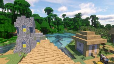 Minecraft1.15.2用シード値:村のそばにポップ